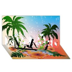 Tropical Design With Surfboarder Engaged 3d Greeting Card (8x4)