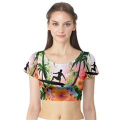 Tropical Design With Surfboarder Short Sleeve Crop Top