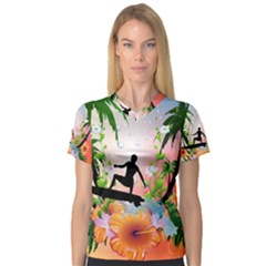 Tropical Design With Surfboarder Women s V Neck Sport Mesh Tee