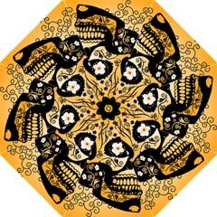 Sugar Skull In Black And Yellow Golf Umbrellas by FantasyWorld7