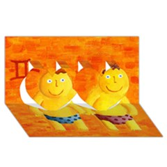 Gemini Zodiac Sign Twin Hearts 3d Greeting Card (8x4)  by julienicholls