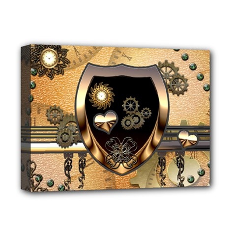 Steampunk, Shield With Hearts Deluxe Canvas 16  X 12   by FantasyWorld7
