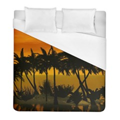 Sunset Over The Beach Duvet Cover Single Side (twin Size) by FantasyWorld7