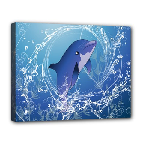 Cute Dolphin Jumping By A Circle Amde Of Water Canvas 14  X 11  by FantasyWorld7