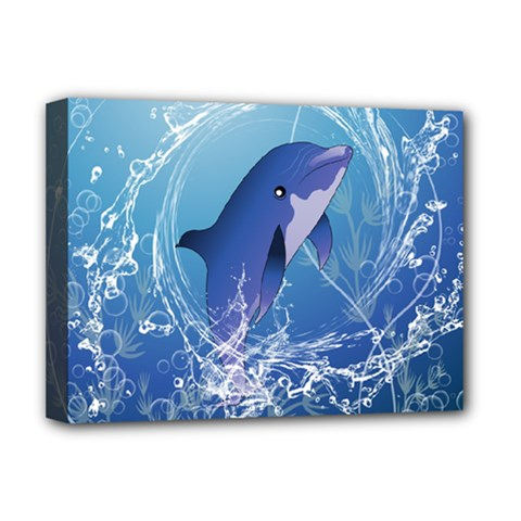 Cute Dolphin Jumping By A Circle Amde Of Water Deluxe Canvas 16  X 12   by FantasyWorld7