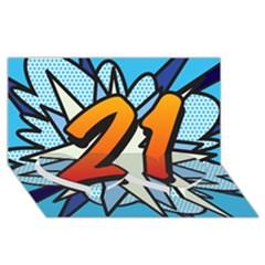 Comic Book 21 Blue Twin Heart Bottom 3d Greeting Card (8x4)