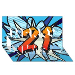 Comic Book 21 Blue Merry Xmas 3d Greeting Card (8x4)  by ComicBookPOP