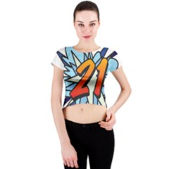 Comic Book 21 Blue Crew Neck Crop Top by ComicBookPOP
