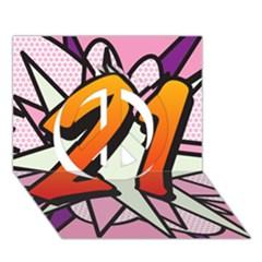Comic Book 21 Pink Peace Sign 3d Greeting Card (7x5)