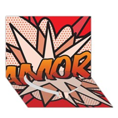 Comic Book Amor!  Heart Bottom 3d Greeting Card (7x5)