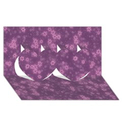 Snow Stars Lilac Twin Hearts 3d Greeting Card (8x4)  by ImpressiveMoments
