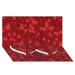 Snow Stars Red Twin Heart Bottom 3D Greeting Card (8x4)