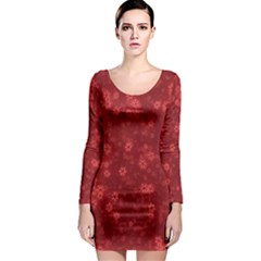 Snow Stars Red Long Sleeve Bodycon Dresses by ImpressiveMoments