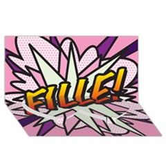 Comic Book Fille! Twin Heart Bottom 3d Greeting Card (8x4)  by ComicBookPOP