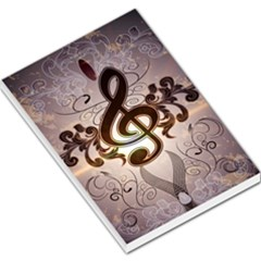 Music, Wonderful Clef With Floral Elements Large Memo Pads by FantasyWorld7
