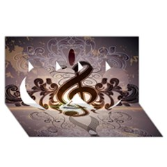 Music, Wonderful Clef With Floral Elements Twin Hearts 3d Greeting Card (8x4)