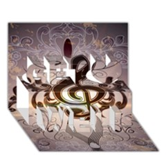 Music, Wonderful Clef With Floral Elements Get Well 3d Greeting Card (7x5)  by FantasyWorld7