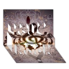 Music, Wonderful Clef With Floral Elements You Rock 3D Greeting Card (7x5)
