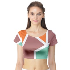 Misc Shapes In Retro Colors Short Sleeve Crop Top by LalyLauraFLM