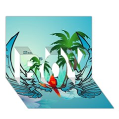 Summer Design With Cute Parrot And Palms Boy 3d Greeting Card (7x5) by FantasyWorld7