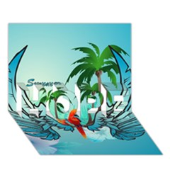 Summer Design With Cute Parrot And Palms HOPE 3D Greeting Card (7x5)  by FantasyWorld7