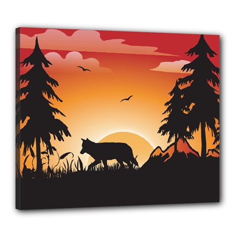 The Lonely Wolf In The Sunset Canvas 24  X 20  by FantasyWorld7