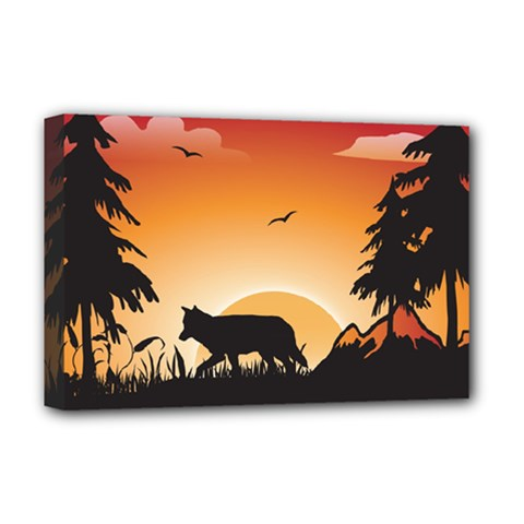The Lonely Wolf In The Sunset Deluxe Canvas 18  x 12   by FantasyWorld7