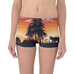 The Lonely Wolf In The Sunset Boyleg Bikini Bottoms