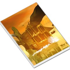 Awesome Sunset Over The Ocean With Ship Large Memo Pads by FantasyWorld7
