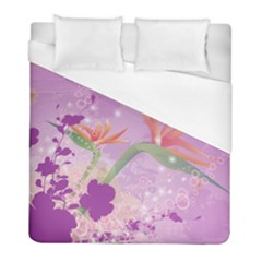 Wonderful Flowers On Soft Purple Background Duvet Cover Single Side (twin Size) by FantasyWorld7