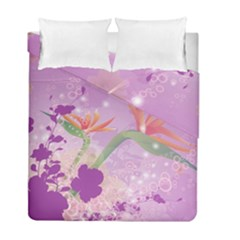 Wonderful Flowers On Soft Purple Background Duvet Cover (Twin Size) by FantasyWorld7