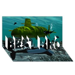 Submarine With Orca Best Bro 3d Greeting Card (8x4)  by FantasyWorld7