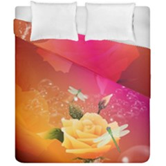 Beautiful Roses With Dragonflies Duvet Cover (Double Size) by FantasyWorld7