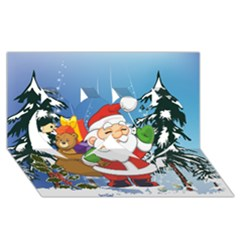 Funny Santa Claus In The Forrest Twin Hearts 3d Greeting Card (8x4)  by FantasyWorld7