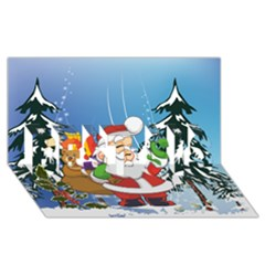 Funny Santa Claus In The Forrest Best Sis 3d Greeting Card (8x4)  by FantasyWorld7