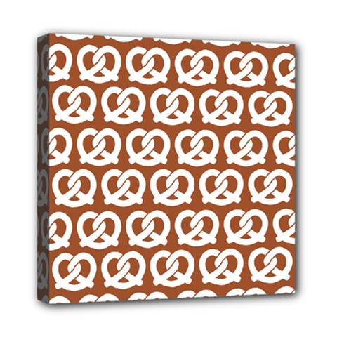 Brown Pretzel Illustrations Pattern Mini Canvas 8  X 8  by creativemom