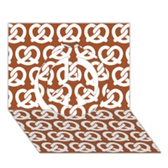 Brown Pretzel Illustrations Pattern Peace Sign 3d Greeting Card (7x5)