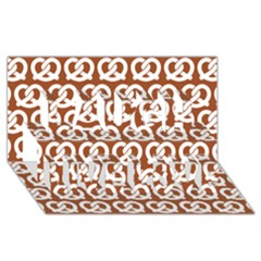 Brown Pretzel Illustrations Pattern Laugh Live Love 3d Greeting Card (8x4)  by creativemom
