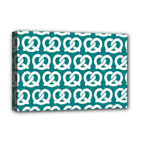 Teal Pretzel Illustrations Pattern Deluxe Canvas 18  X 12   by creativemom