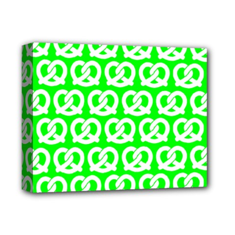 Neon Green Pretzel Illustrations Pattern Deluxe Canvas 14  X 11  by creativemom