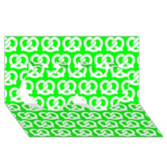 Neon Green Pretzel Illustrations Pattern Twin Hearts 3d Greeting Card (8x4)  by creativemom
