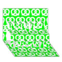 Neon Green Pretzel Illustrations Pattern You Rock 3D Greeting Card (7x5)