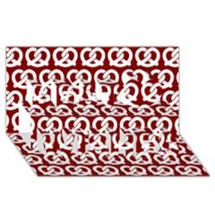 Red Pretzel Illustrations Pattern Best Wish 3d Greeting Card (8x4)  by creativemom