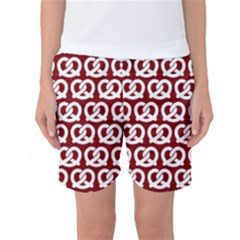 Red Pretzel Illustrations Pattern Women s Basketball Shorts by creativemom