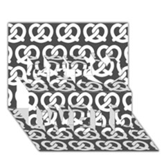 Gray Pretzel Illustrations Pattern Get Well 3D Greeting Card (7x5)  by creativemom
