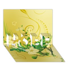Wonderful Soft Yellow Flowers With Leaves Hope 3d Greeting Card (7x5)  by FantasyWorld7
