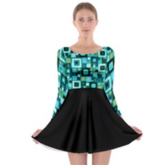 Teal Squares Long Sleeve Skater Dress by KirstenStarFashion