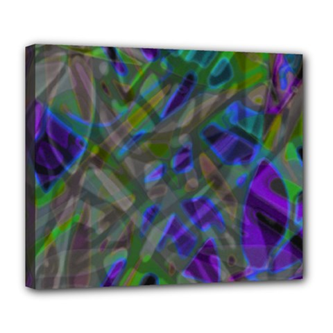 Colorful Abstract Stained Glass G301 Deluxe Canvas 24  X 20   by MedusArt