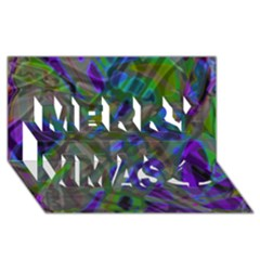 Colorful Abstract Stained Glass G301 Merry Xmas 3d Greeting Card (8x4)  by MedusArt