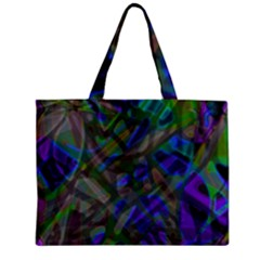 Colorful Abstract Stained Glass G301 Zipper Tiny Tote Bags by MedusArt